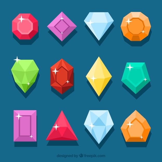 Coleção de pedras preciosas coloridas Vetor grátis