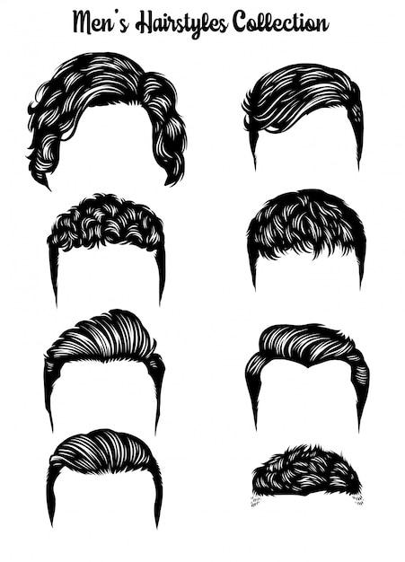 Coleção de penteados para homens handdrawn Vetor Premium