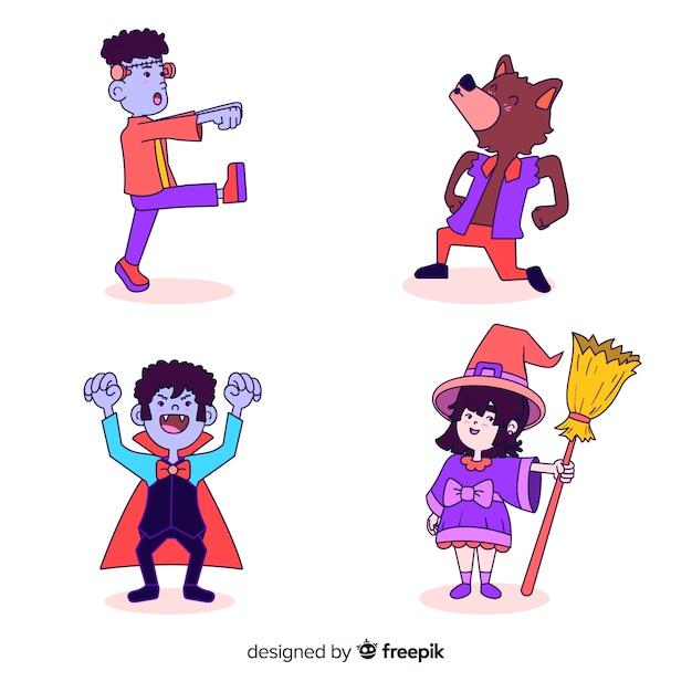 Coleção de personagem de halloween no design plano Vetor grátis