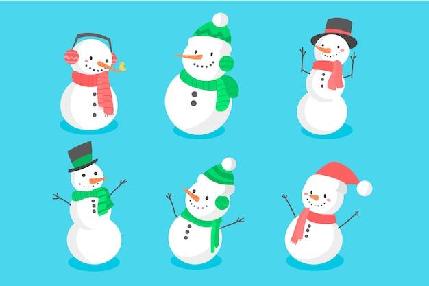 Coleção de personagem de mão desenhada boneco de neve Vetor grátis