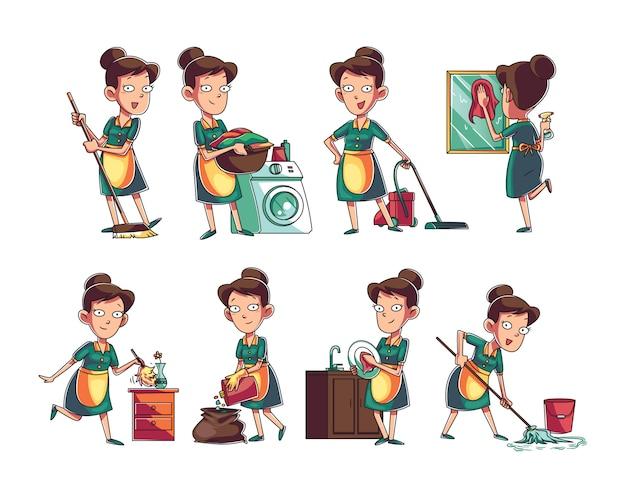 Coleção de personagem de mulher de serviço de limpeza Vetor Premium