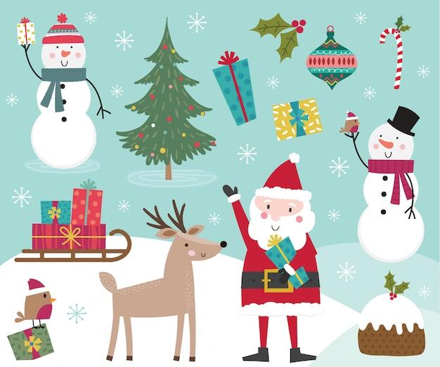 Coleção de personagem de natal bonito, conjuntos de elemento de natal. ilustração Vetor Premium