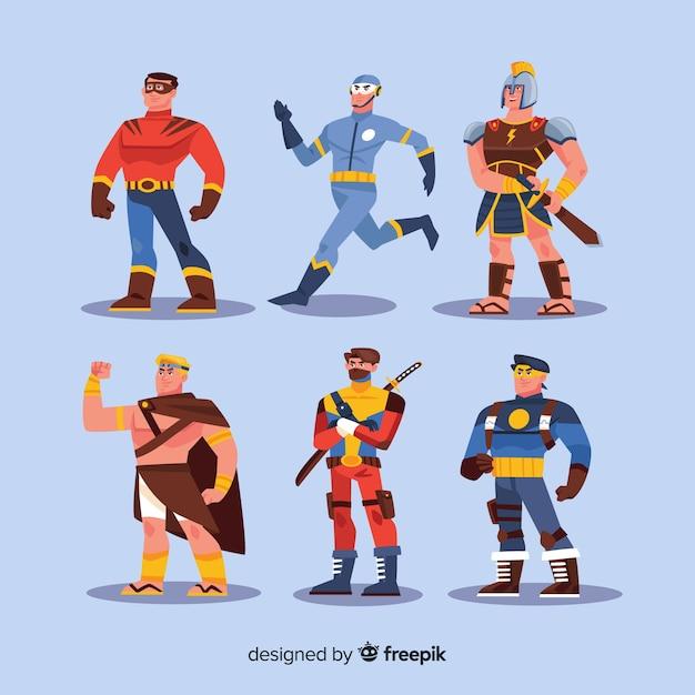 Coleção de personagem de super-herói moderno com design plano Vetor grátis