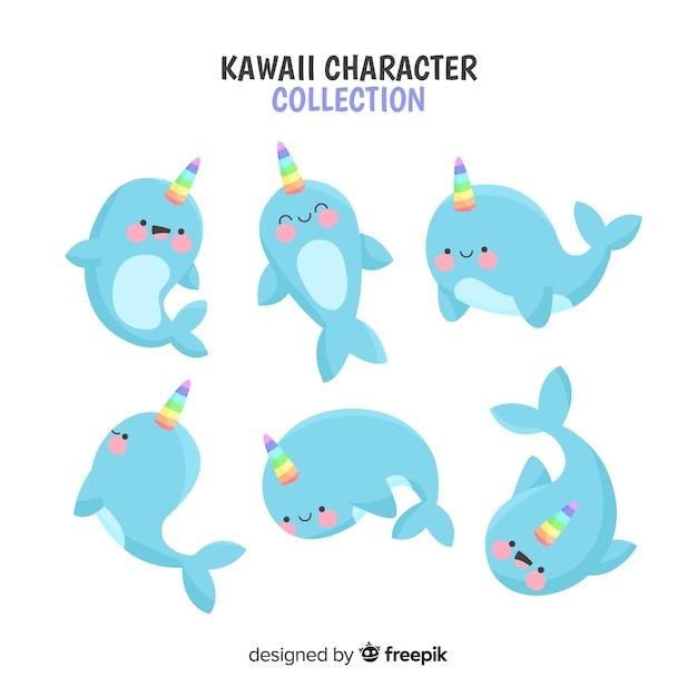 Coleção de personagem de unicórnio kawaii Vetor grátis
