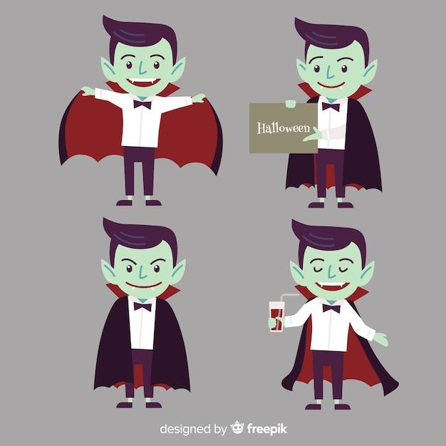 Coleção de personagem de vampiro halloween colorido com design liso Vetor grátis