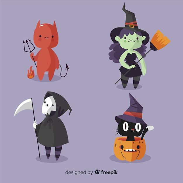 Coleção de personagem mal halloween plana Vetor grátis