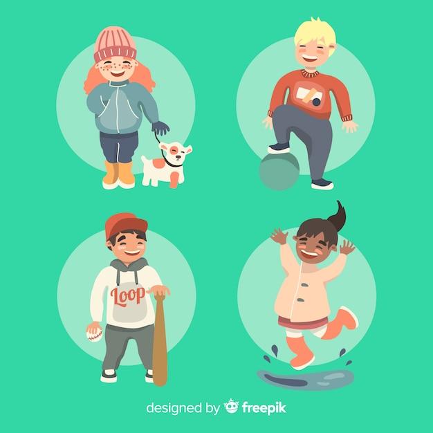Coleção de personagem para crianças passatempos dia das crianças Vetor grátis