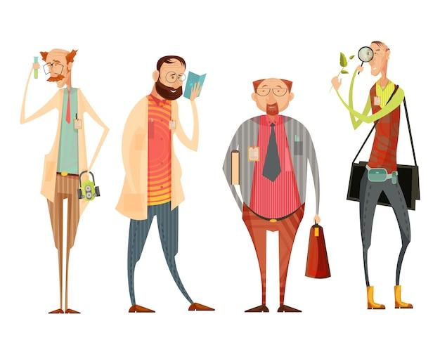 Coleção de personagens com o diretor da escola e professores de biologia, química, literatura estilo cartoon retrô isolado ilustração vetorial Vetor grátis
