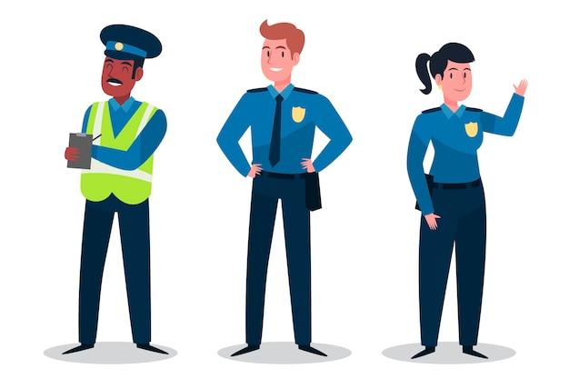 Coleção de personagens da polícia Vetor Premium