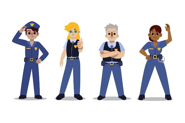 Coleção de personagens da polícia Vetor grátis