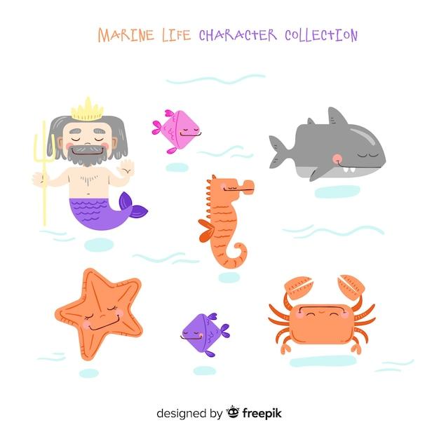 Coleção de personagens da vida marinha Vetor grátis