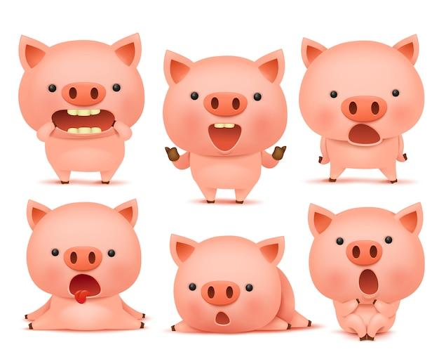 Coleção de personagens de cmoticon porco engraçado em emoções diferentes Vetor Premium