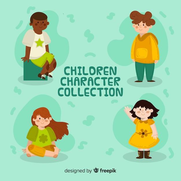 Coleção de personagens de crianças felizes em design plano Vetor grátis