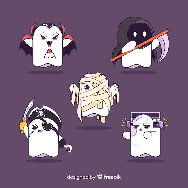 Coleção de personagens de fantasmas de halloween Vetor grátis