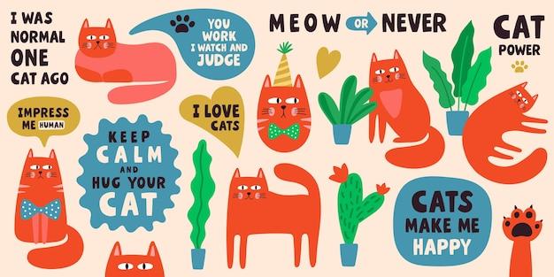 Coleção de personagens de gato fofo com frases de letras. conjunto de ilustração do doodle Vetor Premium