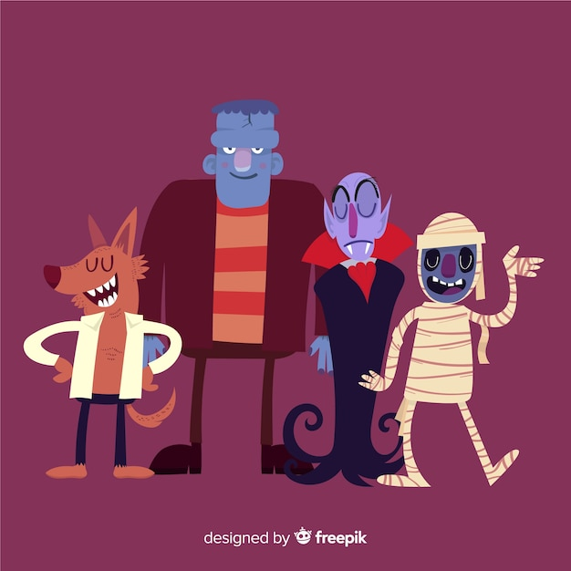Coleção de personagens de halloween clássico com design plano Vetor grátis