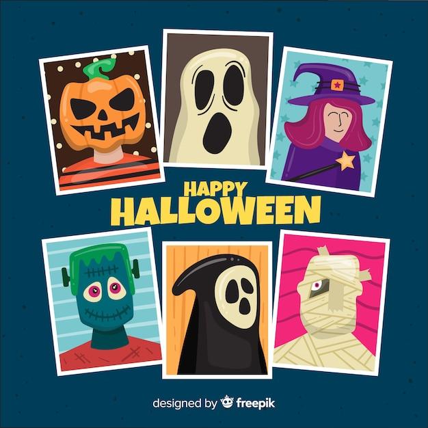Coleção de personagens de halloween em design plano Vetor grátis