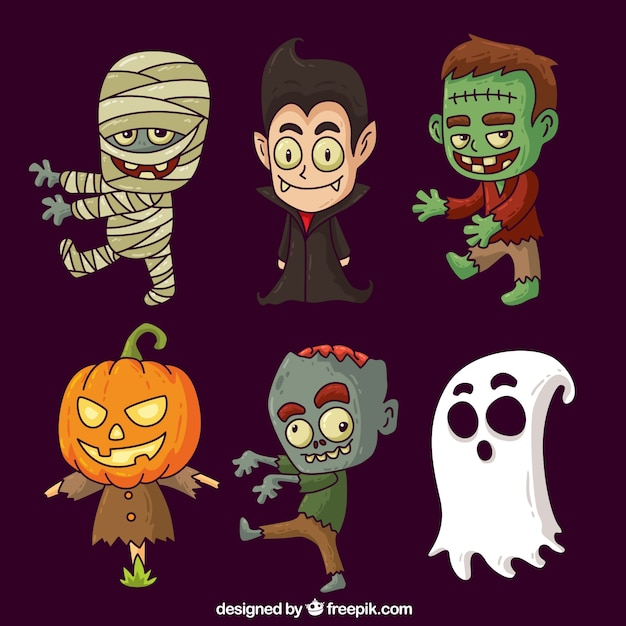 Coleção de personagens de halloween Vetor Premium