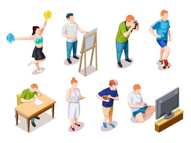 Coleção de personagens de hobbies de adolescente Vetor grátis