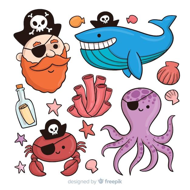 Coleção de personagens de mar mão desenhada Vetor grátis