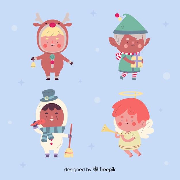 Coleção de personagens de natal de design plano Vetor grátis
