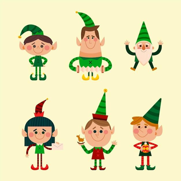 Coleção de personagens de natal desenhada à mão Vetor grátis