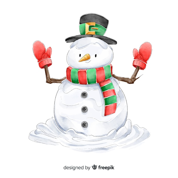 Coleção de personagens de natal em aquarela boneco de neve Vetor grátis