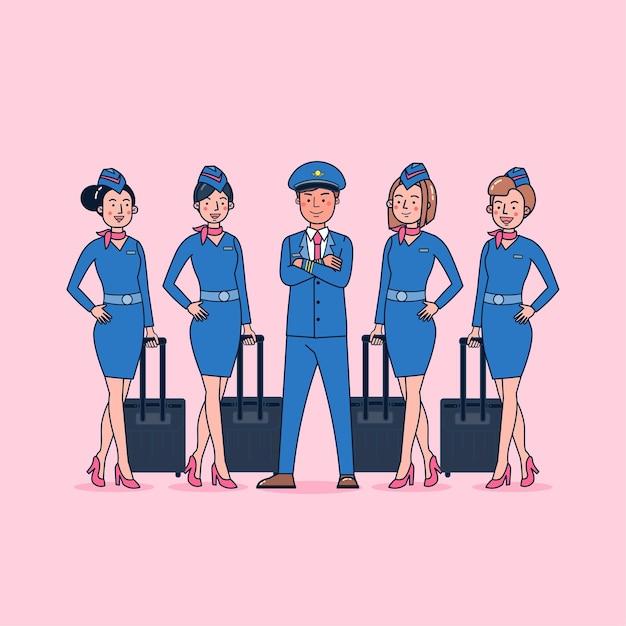 Coleção de personagens de piloto e aeromoça grande conjunto isolado ilustração plana vestindo uniforme profissional, estilo desenho animado Vetor grátis