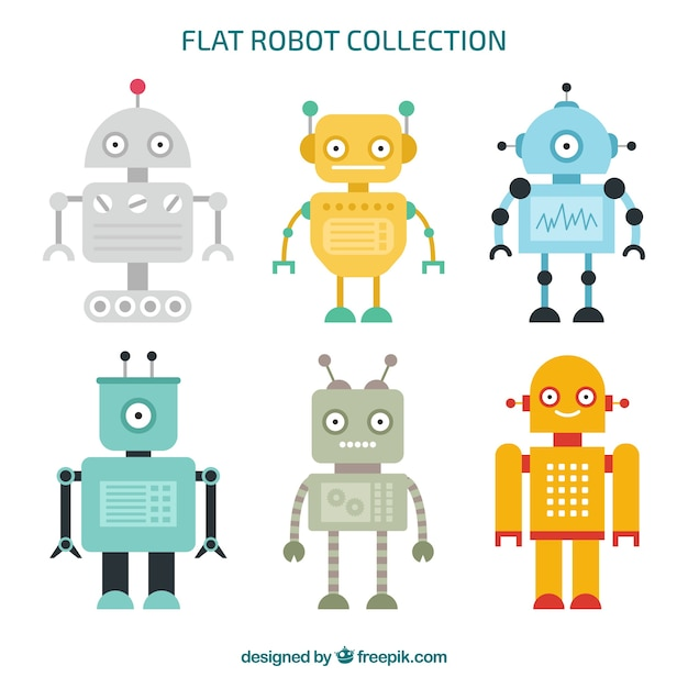 Coleção de personagens de robôs planos Vetor grátis