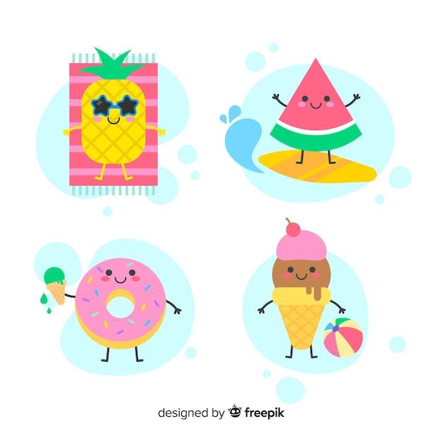 Coleção de personagens de verão kawaii bonito Vetor grátis
