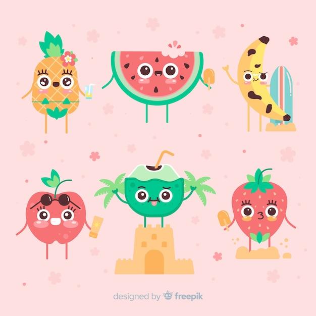 Coleção de personagens de verão kawaii Vetor grátis