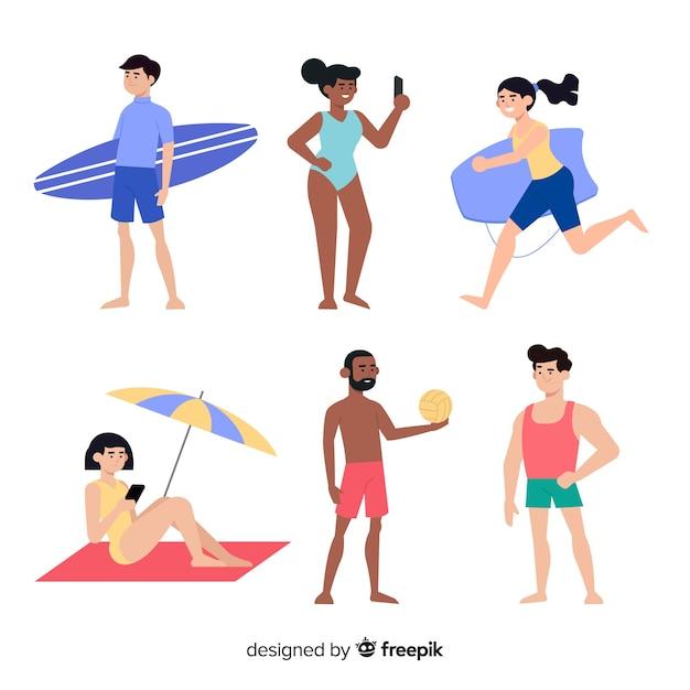 Coleção de personagens de verão Vetor grátis