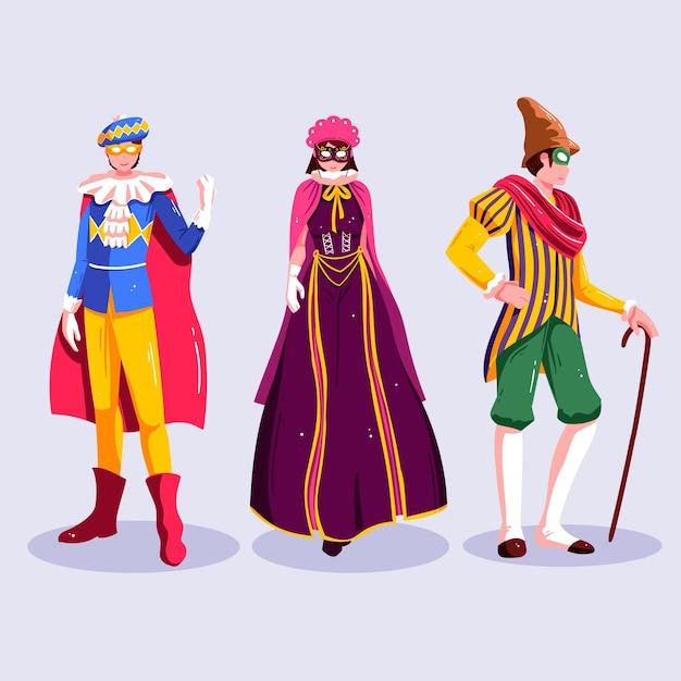 Coleção de personagens felizes vestindo fantasias de carnaval Vetor grátis