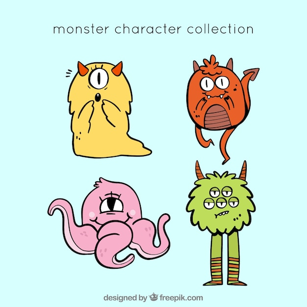 Coleção de personagens fofinhos monstros Vetor grátis