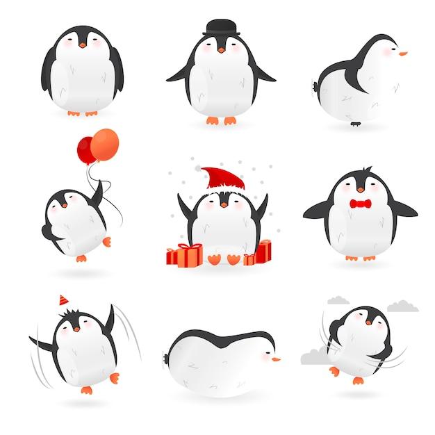 Coleção de personagens fofinhos pinguins Vetor Premium