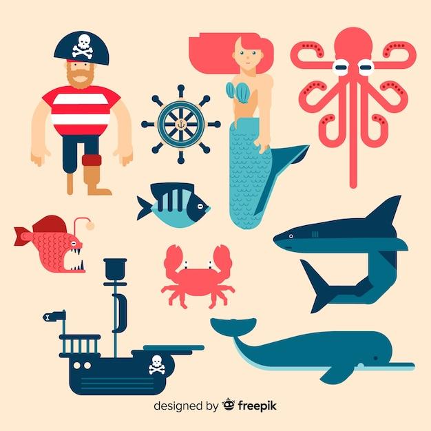 Coleção de personagens marinhos de mão desenhada Vetor grátis