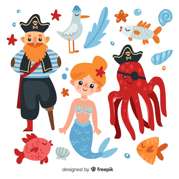 Coleção de personagens marinhos planas Vetor grátis