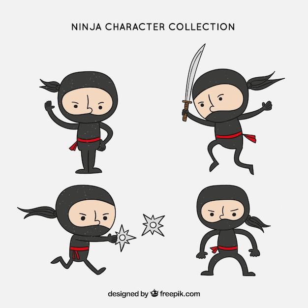 Coleção de personagens ninja mão desenhada original Vetor grátis