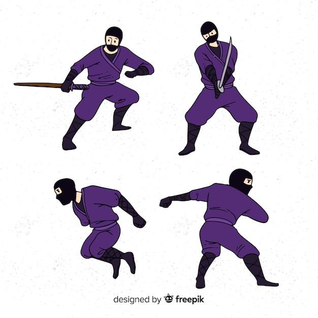 Coleção de personagens ninja Vetor grátis