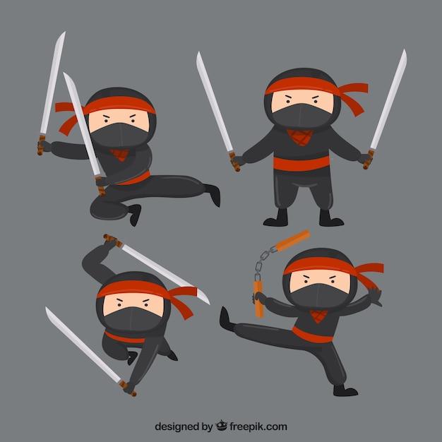 Coleção de personagens plana ninja em poses diferentes Vetor grátis