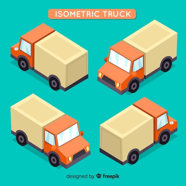 Coleção de perspectivas de caminhão isométrica Vetor grátis