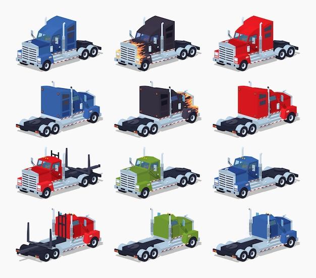 Coleção de pesados caminhões 3d isométricos lowpoly Vetor Premium