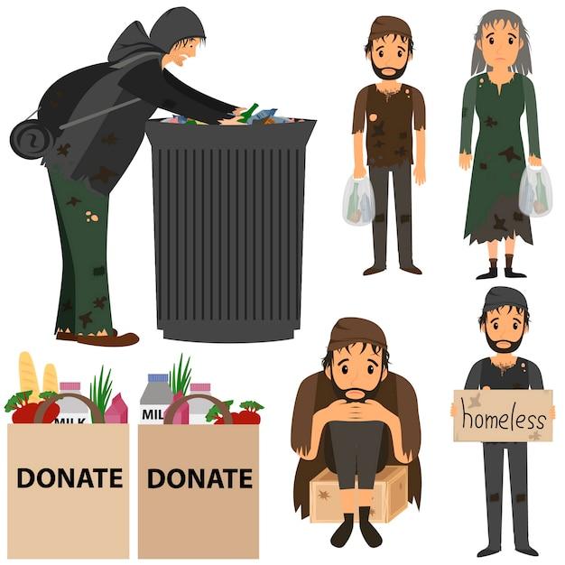 Coleção de pessoas desabrigadas. sem abrigo na rua. sem abrigo no lixo. Vetor Premium