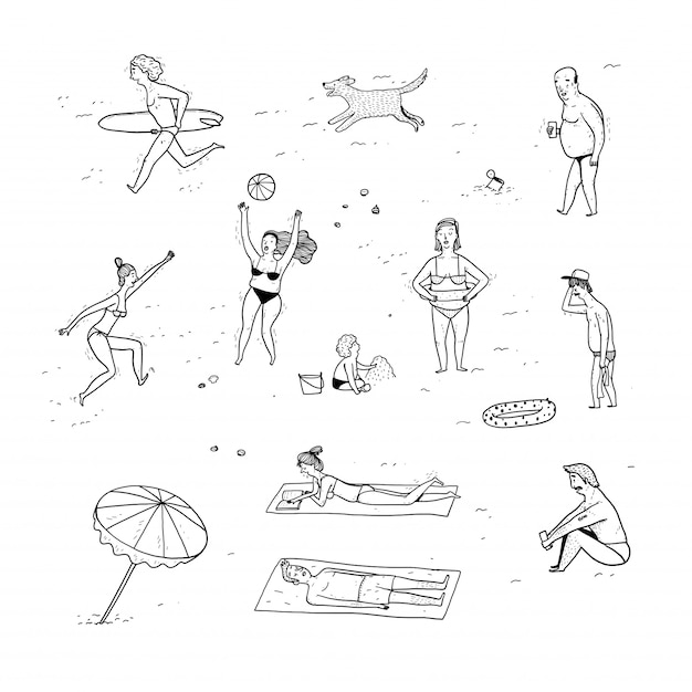 Coleção de pessoas desenhadas mão. Vetor Premium