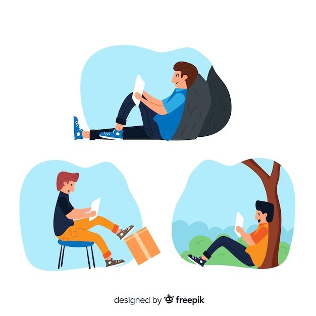 Coleção de pessoas lendo livros diferentes Vetor grátis