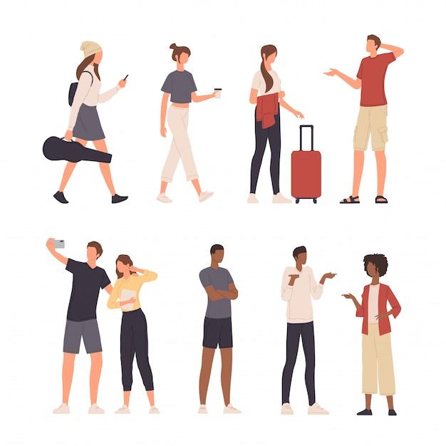 Coleção de pessoas personagem ilustração fazendo várias atividades em design plano Vetor Premium