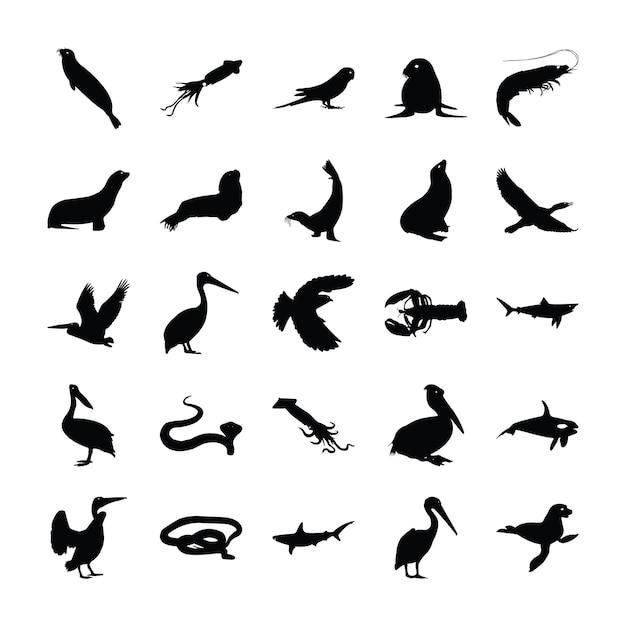 Coleção de pictogramas de animais sólidos Vetor Premium