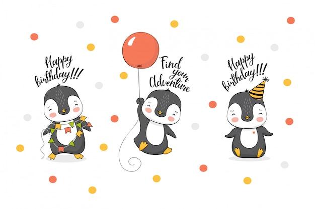 Coleção de pinguins engraçado dos desenhos animados Vetor Premium