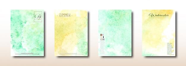 Coleção de pintados à mão em aquarela amarela e verde Vetor Premium