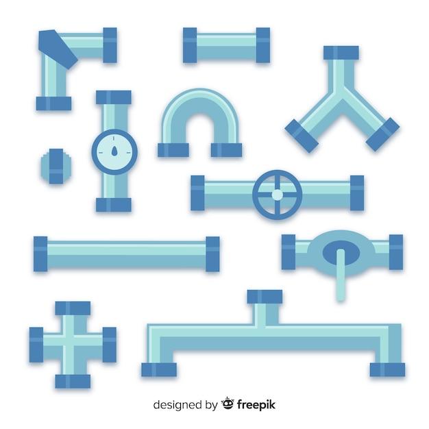 Coleção de pipeline de design plano Vetor grátis